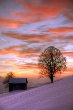Kış günbatımı göz kamaştırıcı ifade