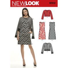 New Look 6302 - Take this outfit from summer to winter with a great long sleeve jacket. Misses' A-line dress has bust darts for shape and can be worn with a jacket featuring contrast bands or cropped jacket, both with princess seams. New Look sewing pattern.
