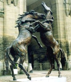 Horse Art. Two stallions rearing in a fight. Gabriël Sterk - Bronze equine study - fighting stallions. Please also visit www.JustForYouPropheticArt.com for more colorful art you might like to pin or purchase. Thanks for looking!