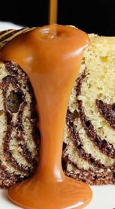 Zebra Cake with Salted Rum Caramel