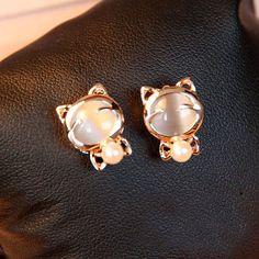 Golden Cat Earrings