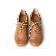"Very Volatile ""Marlena"" oxfords ($59) ❤ liked on Polyvore featuring shoes, oxfords, flats, zapatos, women, high heel shoes, lace up oxfords, oxford flats, brown cap toe oxford y brown shoes"