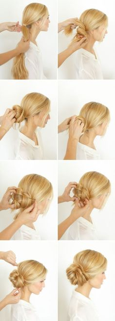 Pretty Side Bun Hairstyle for Long Hair. Step by step photo tutorial. Difficulty: easy with help.
