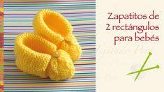Paso a paso: zapatos para bebés hechos de 2 rectángulos tejidos en dos ...