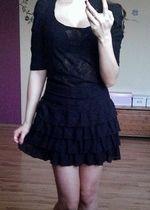 Czarna koronkowa bluzka zestaw - spódniczka