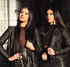 "@laurabadura @klaudiabadura on Instagram - ""Twins do it better!!  the perfect leather jackets ❤️❤️ -> @bodaskins"" #bodaksins"