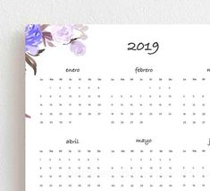 imprimir calendario anual 2019 Substitute Teacher, Free Printables, Projects To Try, Wedding Invitations, Notebook, Bullet Journal, Study, Organization, Lettering