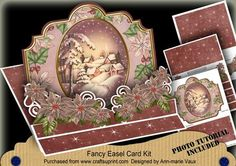 Christmas Snowy Village 3D Easel Card Mini Kit on Craftsuprint designed by Ann-marie Vaux - I have designed this kit to make a 'wow' card. The card is approx 8inches in size so its a nice big size and you get everything you need to create it. This kit will make it look as if you have spent a great deal of time on an amazing card but really it is quick and easy to make. In this kit you get..1 x Sheet with Base Card