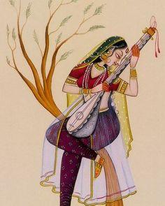 Mughal Paintings, Indian Art Paintings, Modern Art Paintings, Colorful Paintings, Rajasthani Painting, India Painting, Indian Folk Art, Madhubani Painting, India Art