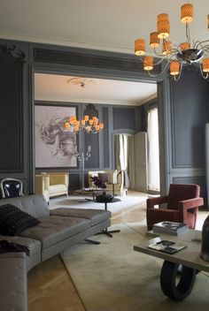 Awesome Parisian Chic Apartment Decor Inspirations - Page 61 of 108 Interior Desing, Gray Interior, Interior Architecture, Style At Home, Deco Salon Design, Home Living Room, Living Room Decor, Chic Apartment Decor, Parisian Apartment