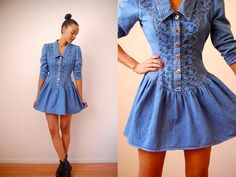 Vtg Southwestern Denim Cowgirl Embroidered Mini Dress  http://www.etsy.com/shop/LuluTresors