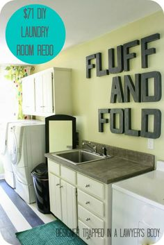 Pin now, read later--Amazing DIY laundry room transformation for less than one hundred dollars with painted vinyl floors!