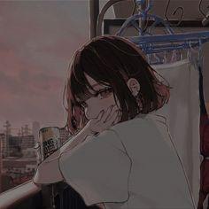 Dark Anime Girl, Manga Anime Girl, Sad Anime, Kawaii Anime Girl, Otaku Anime, Cute Anime Profile Pictures, Cute Anime Pics, Fille Anime Cool, Anime Monochrome