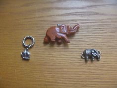 Elephant charms, three elephant pendants, various materials, crafting supplies Kids Rings, Small Rings, Vintage Rhinestone, Vintage Silver, Jewelry Making Supplies, Craft Supplies, Charms, Elephant, Crafting