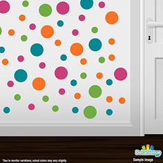 Set of 60 Circles Polka Dots Vinyl Wall Graphic Decals Stickers (Hot Pink / Lime Green / Orange / Turquoise) Decal Venue http://www.amazon.com/dp/B00WFRT4EO/ref=cm_sw_r_pi_dp_bCh0wb1Y8N2R6