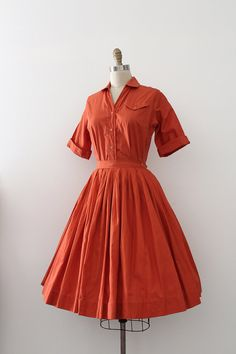 vintage 1950s dress // 50s orange two piece by TrunkofDresses