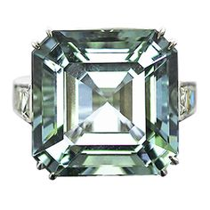 Spectacular Green-Aquamarine Asscher Cut Cocktail Ring | From a unique collection of vintage cocktail rings at http://www.1stdibs.com/jewelry/rings/cocktail-rings/