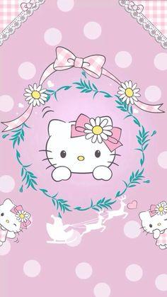 Hello Kitty pink polka dot wallpaper