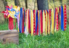 Rag Tie Garland - Birthday - Wedding - Nursery Decor - Vintage Circus - Curious George - Dr Suess