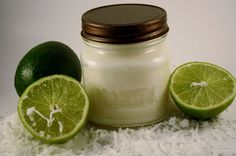 Coconut Lime Scented Soy Container Candle Dye Free Heavily Scented, $8.0