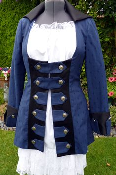 Ladies pirate coat, up-cycled royal blue coat made from mixed fibres fabrics. Pirate Wench, Pirate Woman, Lost Boys Peter Pan, Pirate Wedding, Ladies Jackets, Jackets For Women, Steampunk Wedding, Steampunk Costume, Blue Coats