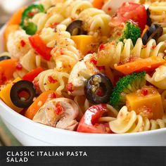 To keep those fresh veggies from hanging out in your fridge too long, toss them with Wish-Bone Italian Dressing, rotelle or spiral pasta, cheese, and olives for a Classic Italian Pasta Salad. Click the image for the full recipe!