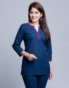 Short Kurti Designs, Kurti Neck Designs, Kurta Designs Women, Tunic Designs, Designs For Dresses, Leather Trousers Women, Cotton Tunic Tops, Casual Tops For Women, Short Tops