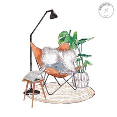 Watercolor illustrations of everyday objects. Good Objects Illustration by Valeria Rienzi. Drawing Interior, Interior Design Sketches, Interior Rendering, Sketch Design, Rendering Architecture, Watercolor Architecture, Sketch Art, Art And Illustration, Watercolor Illustration