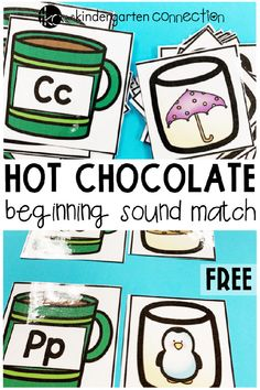 FREE Printable Hot Chocolate Beginning Sounds Match Activity for Kindergarten centers or small groups! Phonics Centers, Kindergarten Centers, Kindergarten Classroom, Beginning Sounds Kindergarten, Kindergarten Freebies, Activity Centers, Phonics Activities, Alphabet Activities, Language Activities