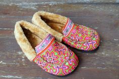 Pink Womens Slippers Moccasin Style In by SiameseDreamDesign