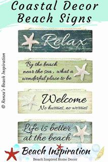 25 Beach Signs And Sayings Wood Plaques Beach Signs Coastal Decor Beach House Interior