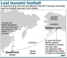 This soccer ball had traveled over 5,100 miles by sea!