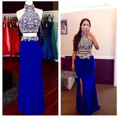 Royal Blue Prom Dresses,2 Piece Prom Gowns,2 pieces Prom Dresses,Sexy Party…