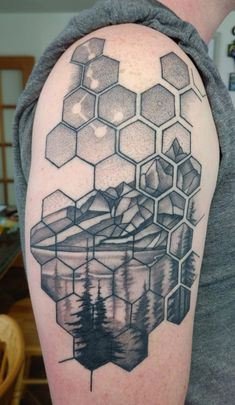 My first healed. Geometric pattern and landscape by Canyon Webb Reno Tattoo Company Reno NV