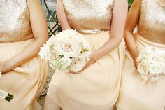 Custom sequined bridesmaids dresses for a New York wedding... Champagne, peach, chiffon & sequins <3 Lovely rose bouquets!