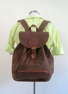 Karl Lagerfeld Faux Leather Backpack Knapsack by looseendsvintage, $30.00