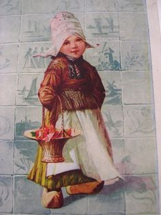 """Vintage 19o5 Postcard - """"Little Dutch Girl with Flowers & Wooden Shoes"""""""