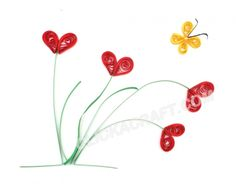 Quilling Flowers - 8 (Red Field Flowers) - Click on image to see step-by-step tutorial.