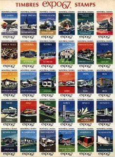 Expo 67 Pavilion Stamps not for mailing. #Expo2025 #Expo2025Toronto #WorldsFair #ExpoCanada2025 @ExpoCanada2025