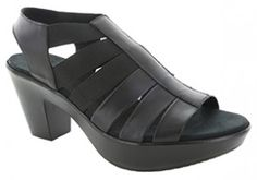 f42ff2be399 Munro American Cookie Black Leather Stretch Sandal (Women) American Cookie