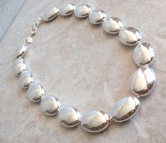 Sterling Beaded Necklace Puffy Oval Large Beads Adjustable Vintage