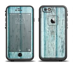 The Subtle Blue Vertical Aged Wood Apple iPhone 6/6s Plus LifeProof Fre Case Skin Set from DesignSkinz