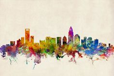 Charlotte North Carolina Skyline Art Print by Michael Tompsett. All prints are professionally printed, packaged, and shipped within 3 - 4 business days. Choose from multiple sizes and hundreds of frame and mat options.