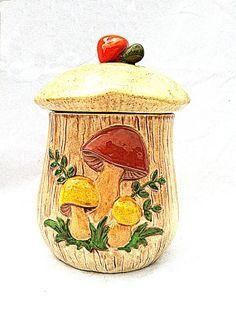 Retro Ceramic Mushroom Cookie Jar Vintage 1970s Kitsch