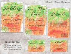 Wedding suite INSTANT DOWNLOAD   Editable Templates   Orange Green   Wedding Invite, rsvp, save the date, invite   Splatter Collection PDF by AmazingGraceDesignZA on Etsy Printable Invitations, Wedding Invitations, Printables, Wedding Suite, Green Wedding, Save The Date, Rsvp, Invite, Pdf