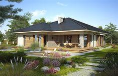Projekt domu parterowego Fabia IX o pow. 141,5 m2 z obszernym garażem, z dachem kopertowym, z tarasem, z wykuszem, z wejściem od południa, sprawdź! House Layout Plans, My House Plans, House Layouts, Modern Bungalow House Design, Modern Bungalow Exterior, House Plans South Africa, House Outside Design, Beautiful House Plans, Model House Plan
