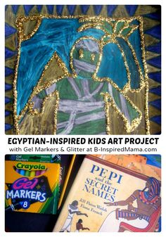Looking for a kids art project for learning about and exploring Ancient Egypt? Check out our fun Golden and Glittery Egyptian-Inspired Kids Art Project! History For Kids, Art History, Art Activities For Kids, Art For Kids, Projects For Kids, Art Projects, Children's Church Crafts, Africa Art, Inspiration For Kids