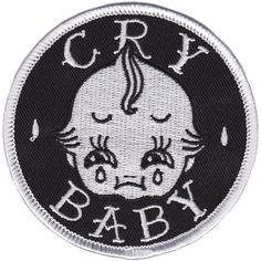 SOURPUSS CRY BABY PATCH - Go ahead 'n' cry about it, whydon'tcha?! Show the world you've got a sensitive side with this Cry Baby Patch featuring an adorably sad kewpie face. With an iron-on backing it's easy to apply to your vest, jacket, bag or wherever you like.