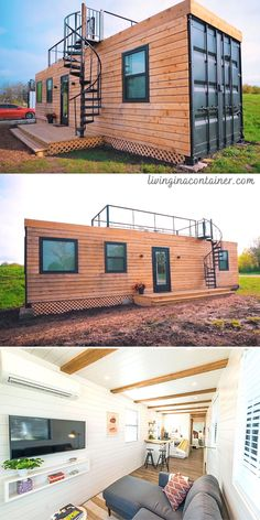 Tiny Container House, Building A Container Home, Container Buildings, Modern Tiny House, Tiny House Design, Shipping Container Home Designs, Casas Containers, Tiny House Nation, Future House