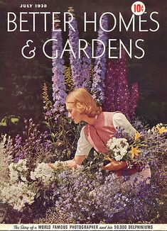 1938 vintage Better Homes & Gardens Cover of Edward Steichen Delphiniums and Garden